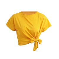 ingrosso magliette a maniche corte-T-Shirt Donna Estate 2017 T-Shirt Feminino Front O-Collo Tinta unita T Shirt Manica corta Fiocco Allentato Casual Top Ropa Mujer