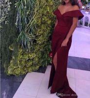 pictures bella UK - Off the Shoulder Side Slit Prom Dresses Long Elegant Bella Hadid Elastic Satin Celebrity Party Gowns 2018 Hot Sale Evening Gowns