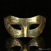 antigua roma de halloween al por mayor-Halloween Archaize Golden Silver Bronce Man Half Face Mask Flat Head Talladas Máscaras Ancient Rome Masquerade Dance Light Pequeño 0 85xx cc