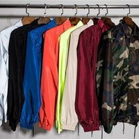 Wholesale fall colors clothing - 12 Colors High Street HipHop Mens Windbreak Jackets Fall And Winter Fashion Black Men Style Clothing Outdoor Coats 2018