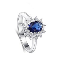 Wholesale jewellry rings - Red Blue Shinny Crystal Ring Platinum Plated Romantic Ring AAA Cubic Zircon For Women Couple Valentine's Day Luxury Jewellry With Free Box