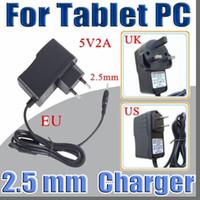 carregador uk para tablet pc venda por atacado-5 V 2A DC 2.5mm Plugue Conversor Adaptador de Alimentação Carregador de Parede para A13 A23 A33 A31S A64 7 9 10 polegada Tablet PC UE EUA REINO UNIDO plugue A-PD