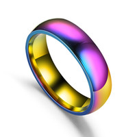 Wholesale Hot Fashion MM Jewelry Ring Glare Rainbow Ring Stainless Steel Rings For Women Men Gift PC