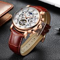 ewige kalender männer mechanische uhren großhandel-KINYUED Mond Phase mechanische Skeleton Uhr Männer Rose Gold Business männlich mechanische Uhren Perpetual Calendar Horloges mannen