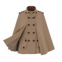 ingrosso lana a ponte-Nuove donne europee scialle del capo cappotto doppio lana inverno cappe e poncho mantello femminile giacca autunnale