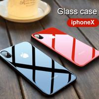 tpu tampon muhafazası geri toptan satış-IPhone X 8 10 7 artı TPU Çerçeve Tampon cam vaka Lüks 9 H Sertlik Temperli Cam Parlak Telefon Kılıfı Darbeye Arka Kapak