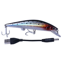 INFOF 10 pieces Intelligent LED Light Fishing Lure USB Rechargeable Fishing Lures Treble Hook Electronic Fishing Lamp Baits Lures For Lake