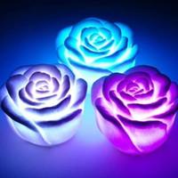 rose blume führte kerze lichter großhandel-Veränderbare Rose Flower Candle der Farben-LED beleuchtet rauchlose flammenlose Rosenliebeslampenweihnachtsfestdekorationen Freier DHL