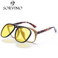 Wholesale Clip Flip Up Glasses - SORVINO Brand 2018 McQregor Aviator Flip Up Sunglasses Vintage Retro Yellow Clip on Sun Glasses Men Women Havana 0087S