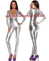 traje de cuerpo vestido sexy al por mayor-Sexy Silver Shiny Metallic Traje Catsuit Disfraces Sexy Mujeres V-Collar Traje de Cuerpo Trajes de Halloween Party Fancy Dress Cosplay Disfraces P340