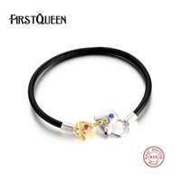 Wholesale Locked Cuffs - FirstQueen High Quality Genuine Leather Bracelets With Silver 925 Key Lock Clasp DIY for Women and Men Silver Fine Jewelry
