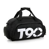 mochilas para hombres al por mayor-T90 Hombres Mujeres Gimnasio Impermeable Al Aire Libre Zapatos Separados atlético bolsa de esquí bolsa mochila Mochila Sport Gym Bag