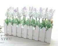 ingrosso recinzione di fiore artificiale-Nuovo design 30 cm Vaso di recinzione in legno + fiori Eugene fiore rosa e Daisy fiore artificiale set fiori di seta per la decorazione della scrivania di casa