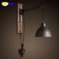 Wholesale French Style Lamps - FUMAT American Vintage Iron Cover Iron Pulley Lamps French Loft Style Dining Room   Bar   Cafe Wall Lamp