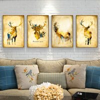 Wholesale elk painting - 2018 Nordic Abstract Gold Elk Canvas Painting Noble Art Print wall Paintings Picture For Living kitchen Room Decoration
