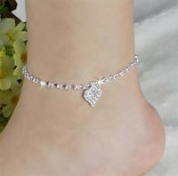 ingrosso donne cristalline a sandali scalzi-Fatpig Heart Anklet Bracelet Caviglia sulla gamba per le donne Argento Barefoot Bohemian Crystal Love Sandals Ankle Strap Jewellery