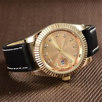 Wholesale Couple Watches Automatic - relogio masculino automatic calendar watches men top luxury brand small gold diamond watch women leather designer quartz clock gifts Couple