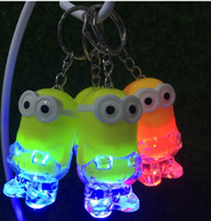 Wholesale keychain sounds resale online - 2019 New Arrival Minion LED Light Keychain Key Chain Ring Kevin Bob Flashlight Torch Sound Toy Despicable Me Kids Christmas Promotion Gift