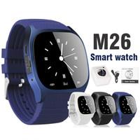 reproductor de música para niños al por mayor-M26 Smartwatches Reloj inteligente con Bluetooth para teléfono móvil Android con pantalla LED Podómetro para reproductor de música para iPhone en paquete minorista
