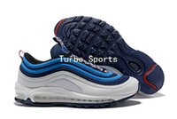 Wholesale red nebula - 2018 Cushion Shoes 97 97s Obsidian Blue Nebula Pull Tab Pack Mens Running Shoes Silver Bullet for Men Trainer Sports Sneakers AQ4126-400