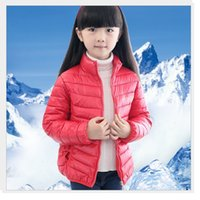 ingrosso giacca verde giallo ragazze-2016 Solid Blue Boy Cappotti Outfit Green Bambini Down Coat Red Winter Outwear Giallo Kids Parka Top Girls Jacket