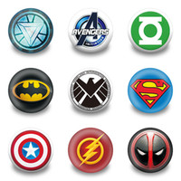 Wholesale wholesale superheros - Avengers Superheros Cartoon Symbol Badeges Plastic Round 3.0CM Brooches Cool Button Pins Clothes Bags Accessories Kids Favor Party Gifts