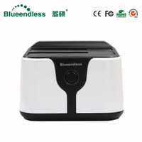 Wholesale sata hdd docking station clone resale online - 2 bay hdd docking station clone duplicator hdd box sata to usb hard disk case caddy plastic for tb sata dock