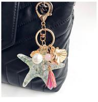 ingrosso doni amanti della stella di mare-Carino Charms Crystal Starfish Shell Conch Moschettone Portachiavi Portachiavi Titolari Bag Hangs Gioielli di moda per le donne regalo dei capretti Trasporto di goccia