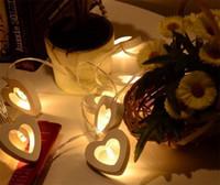 Wholesale novelty xmas - Novelty Decorative Lamps Love Heart Shape String Fairy Wooden LED Light For Christmas Xmas Wedding Decorations New Arrival 8xg ZB