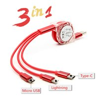 Wholesale 3 In Retractable Cord Micro USB Type C Lightnin Pin Charger Cable Flat M FT For iPhone Huawei Samsung Cellphone Charging Cable Gift