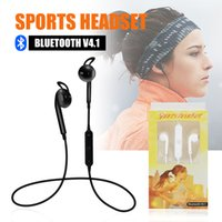 Wholesale Headphone Neckband - Bluetooth Headphones Headset Sports wireless earbuds S6 Stereo Neckband In-ear earphones with Microphone Outdoor Sport Running for iphone x