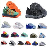 new arrival b53d1 fb3d1 NEUE KD 10 EP Basketball-Schuhe für Spitzenqualität Kevin Durant X kds 10s  Regenbogen   Wolf Grau KD10 FMVP Sport-Turnschuhe USA 7-12