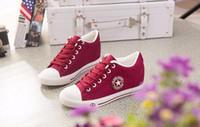 yükseklik yıldızları toptan satış-Yaz Sneakers Takozlar Kanvas Ayakkabılar Kadınlar Rahat Ayakkabılar Kadın Sevimli Beyaz Sepet Yıldız Zapatos Mujer Eğitmenler 5 cm Yükseklik