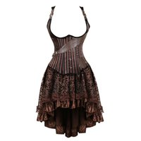 burlesque korse elbiseleri toptan satış-Artı boyutu vintage steampunk korseler underbust elbise burlesque gotik korsan korse büstiyer suni deri etek set kahverengi kadınlar