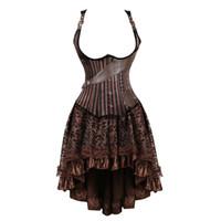 falda corsé de piel sintética al por mayor-Tallas grandes vintage steampunk corsés bajo el pecho vestido burlesco gótico pirata corsé bustier faldas de cuero sintético conjunto marrón mujeres