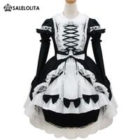 ingrosso abiti da principessa giapponese-Le ragazze giapponesi Classic Lolita Dress Festival Fancy Dress Dolce bianco e nero Cosplay Princess Lolita