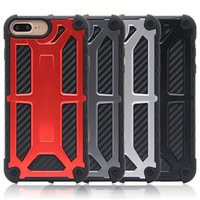 Wholesale Carbon Fiber Tpu - Carbon Fiber 5 Layer Protective Case for iphone 7 8 Monarch Case For iphone X Leather Phone Case with Retail Box