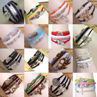 Retro Mix Handmade Jewelry Infinity Charm Bracelets 36 estilos moda Multilayer Wax cordão Leather Bracelet Coração coruja Amor DIY Jóias Presentes