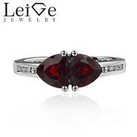 echte rote steine groihandel-925 Silber Real Granat Ring Trillion Cut Doppelstein Rot Edelstein Trauringe für Frauen Janurary Birthstone