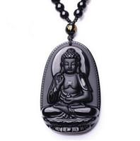 black buddha pendants großhandel-Schmuck Obsidian Buddha Anhänger männlich Frauen Halskette Tier Buddha Bead Vorhang umgeschlagen Peeling Buddha Kopf Anhänger schwarz