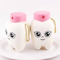 Wholesale teeth phone online – custom Cute Teeths Soft Squishy Slow Rising Squeeze Toy Squishies Teeth Doctor Decompression Toys Phone Straps Charm Pendant sq CR