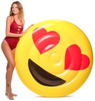 tube gonflable de bain de flotteur achat en gros de-Date Summer Intéressant Emoji Pool Lunettes De Soleil Float Émoticône Coeur Yeux Drôle Tube Gonflable Anneau De Natation LJJN239