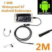 cámara de inspección de tuberías industriales al por mayor-5.5mm 7.7MM Lente Android Endoscopio Cámara 1M 2M IP67 Impermeable Pipe Snake Gadget Inspección Teléfono Android OTG USB Boroscopio 6LED 30PCS