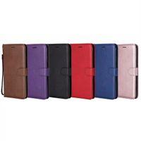 ingrosso cassa del portafoglio di libri-Custodia in pelle portafoglio PU per Iphone XR XS MAX 8 7 6 6S SE 5 5S Galaxy Note 9 Note9 S9 S8 Telefono Flip Cover ID Card Slot TPU Book Pouch Strap