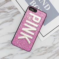iphone fall weihnachten großhandel-ROSA Abdeckung Mode Design Glitter 3D Stickerei Liebe Rosa Handyhülle für iPhone XS, iPhone XR Xmas iPhone 8 für Samsung S9 S9 plus 9 + note8
