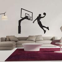 ingrosso basket adesivo rimovibile-Hot Modern Design Dunk Giocatore di pallacanestro Wall Decor Vinyl Decal Stickers Rimovibile Art Sticker Home Bedroom Decor