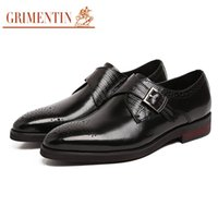 Wholesale comfortable mens dress shoe black resale online - GRIMENTIN Hot sale brand mens dress shoes genuine leather brown black comfortable Italian men oxford shoes fashion office wedding male shoes