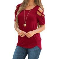 kadınlar için gündelik kıyafetler toptan satış-Kadın T-Shirt Rahat Kısa Kollu Hollow Pamuk Blend T-Shirt Giyim Kadınlar için Yüksek Kalite tops