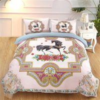 ropa de cama de flores de niña rosa al por mayor-3D Print Horse Flower Duvet Cover Set para niños adultos niñas Pink Blue Luxury Boho de dibujos animados Animal Juegos de cama