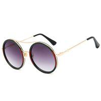 bardak çerçeve dişi toptan satış-2018 yuvarlak lüks güneş gözlüğü marka tasarımcı bayanlar boy kristal güneş gözlüğü kadın büyük çerçeve oval ayna güneş gözlükleri kadın uv400